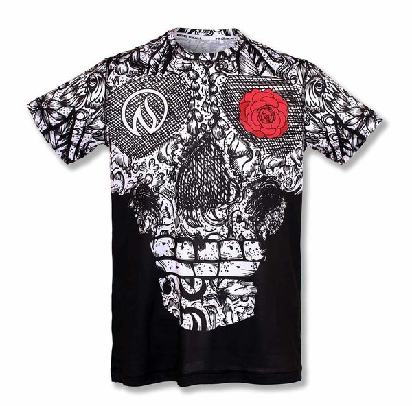 INKnBURN Men's Skull and Rose Tech Shirt s/s