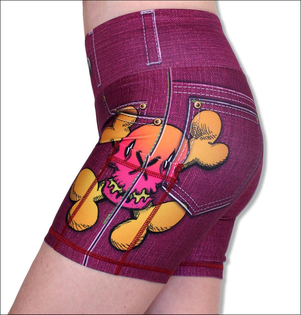 "INKnBURN Women's Candy Skull Pink Denim 4"" Shorts"