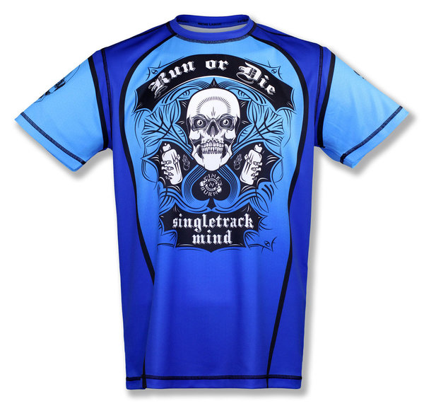 INKnBURN Men's Blue Run or Die Tech Shirt