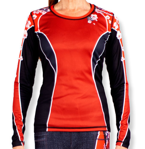 INKnBURN Women's Red Sakura Long Sleeve Tech Shirt