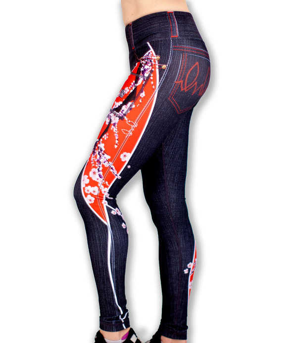 INKnBURN Women's Red Sakura Performance Tights